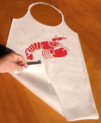 XL lobster bibs, printed with red lobster: high quality, disposable, laminated soft paper/plastic, pack of 25