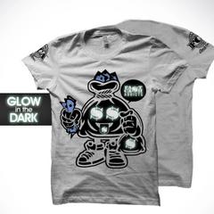 "FCA Bag Man Men's T-Shirt. Grey ""Glow in the Dark Logo"" S-XXXL"
