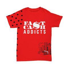 "FCA Money Stash ""Glow in the Dark Logo"" Men's T-Shirt. Red S-XXXL"