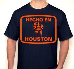 Hecho En Houston Orange & Navy Houston Baseball Fan T-Shirt