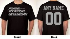 Puro Pinche Raiders Any Name & Number Logo Personalized Football Fan T-Shirt Gray / Black