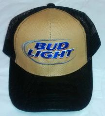 c36b9c1f3ba Bud Light Tan Bamboo Mesh PU Leather Bill Hat
