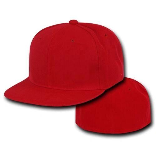 Red Fitted Flat Bill Plain Solid Blank Baseball Cap  09f8f865b43