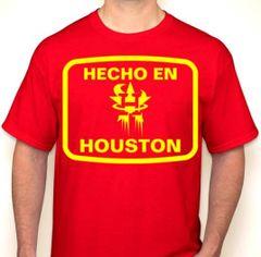 Hecho En Houston Red & Yellow Houston Basketball Fan T-Shirt