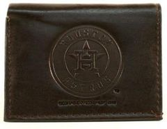 Houston Astros Embossed Tri-Fold Leather Wallet Brown