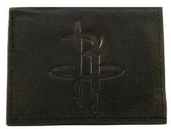 Houston Rockets Embossed Tri-Fold Leather Wallet Black