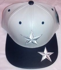 9d1c9f8d01e Star Gray   Navy Blue   White PU Leather Snapback Cap