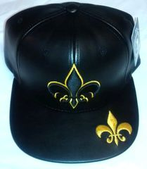 79bd5456905 Fleur-De-Lis Black   Gold PU Leather Snapback Cap