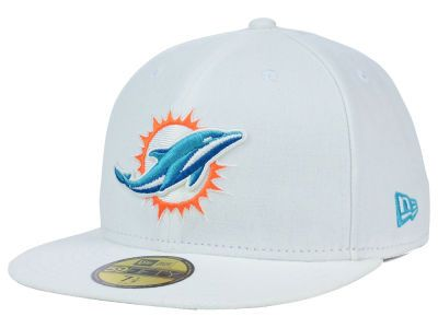 Miami Dolphins White NFL Official On Field 59FIFTY Fitted Hat  1281f918120