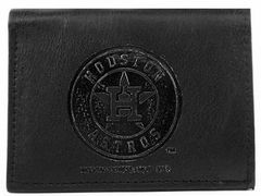 Houston Astros Embossed Tri-Fold Leather Wallet Black