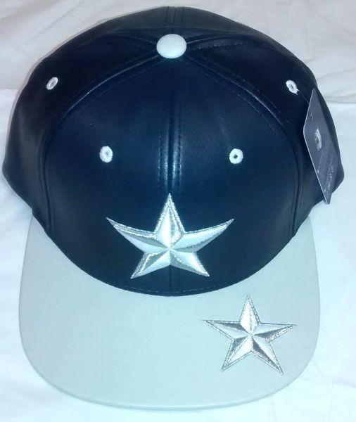 Star Navy Blue   Gray   White PU Leather Snapback Cap  2c6d189dace