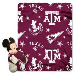 Texas A&M University Mickey Mouse Hugger and Fleece Throw Set