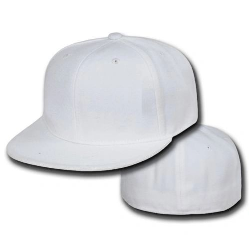 ef2bed317 White Fitted Flat Bill Plain Solid Blank Baseball Cap | MOC Entertainment