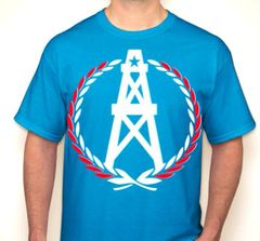 Oilers Wreath Houston Fan T-Shirt White/Red/Columbian Blue