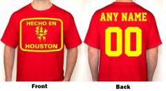 Hecho En Houston Any Name & Number Logo Personalized Houston Basketball Fan T-Shirt Red / Yellow