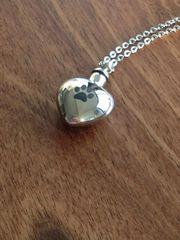 "PAW HEART STAINLESS STEEL PENDANT ON 18"" SILVER PLATED CHAIN £10 TO CLEAR"