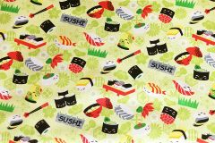 M'doridori Fabric Gift Wrap in Green Sushi