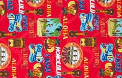 M'doridori Fabric Gift Wrap in Red Hula Print