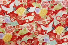 M'doridori Fabric Gift Wrap Red Crane Chirimen *Special Series* LARGE