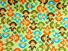 M'doridori Fabric Gift Wrap in Monkeys Abound