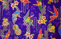 M'doridori Fabric Gift Wrap in Purple Origami Crane