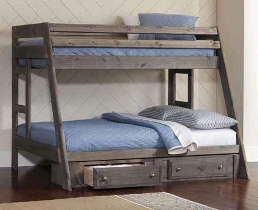 Twin Over Full Wood Smoked Grey Bunk Beds With Storage From The