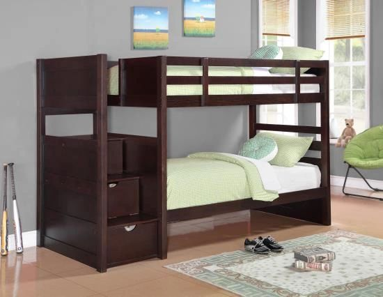 Twin Twin Espresso Bunk Beds From The Elliott Collection With