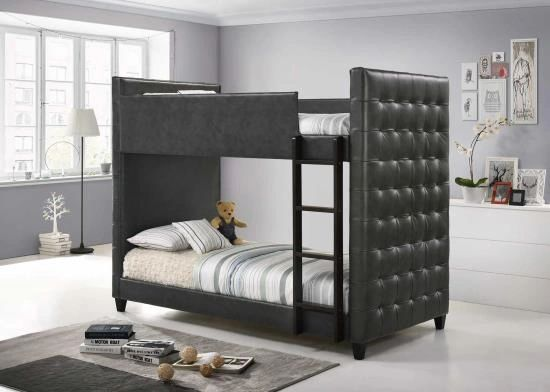 Twin Twin Deep Grey Tufted Upholstered Bunk Bed Kswxo405061 Kid