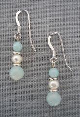 Amazonite and Pearl Earrings