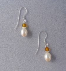 Pearl, Amber and Sterling Silver Earrings