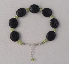 Lava and Peridot Bracelet