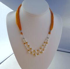 Pearls with Amber and Silk Necklace
