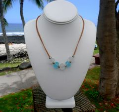 Frosted Handcrafted Glass Beads on Leather Necklace