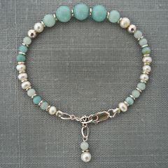 Amazonite and Pearl Bracelet