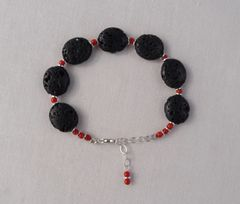 Lava and Coral Bracelet
