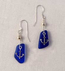 Anchor and Beach Glass Earrings