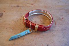Cranberry padded luxury leather dog collar
