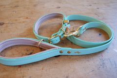 Mint padded luxury leather dog collar and lead set