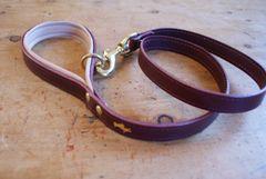 Fig padded luxury leather dog lead
