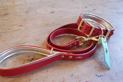 Cranberry padded luxury leather dog collar and lead set