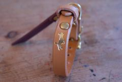 Nacho tan mini luxury leather dog collar