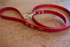 Cranberry mini luxury leather dog lead