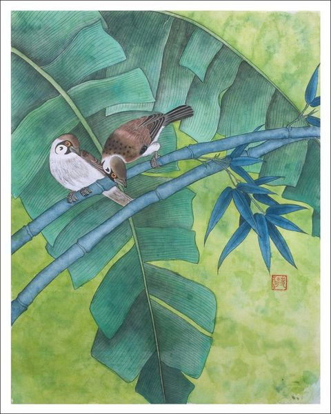 Birds on Bamboo- PRINTS ONLY