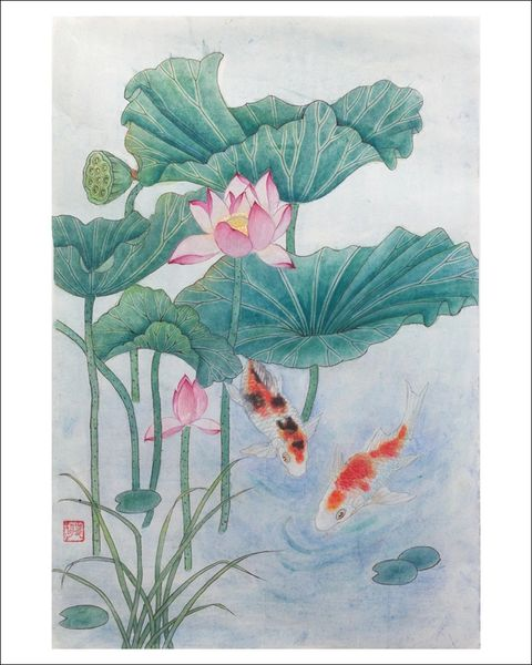 Koi with Pink Lotus Flowers