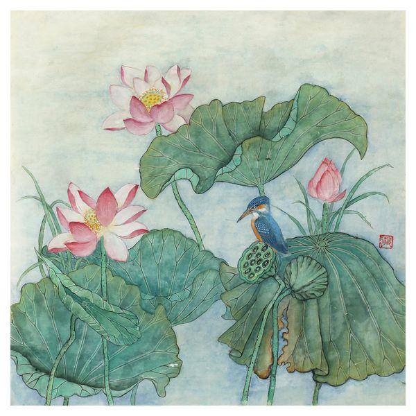 Blue Bird with Lotus Flowers