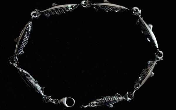 Silver Salmon Link Bracelet