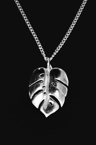 Monstera Leaf Silver Pendant with Silver Chain