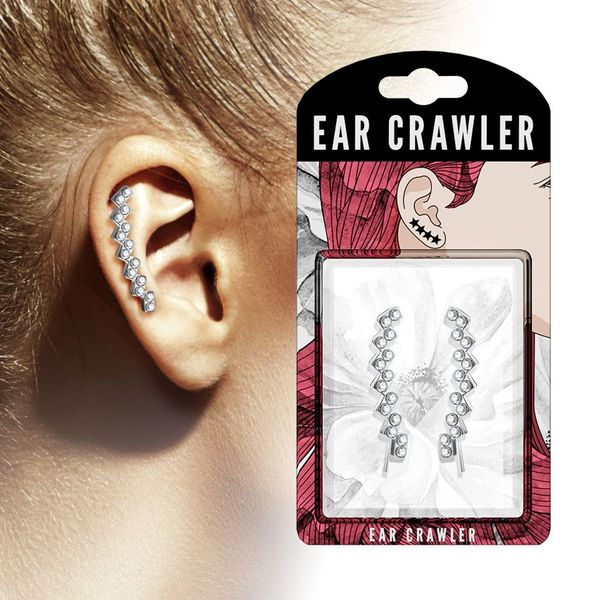 a446e115fbd Clear Crystal Paved Lined Squares Ear Crawler Ear Climber Pair ...