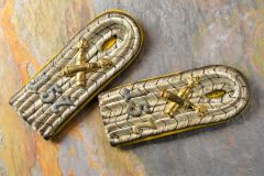 Beautiful Prussian Foot Artillery Lieutenant's Slip On Shoulder Boards
