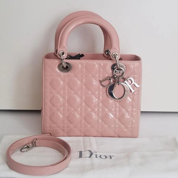 dc3f8df7 SOLD $4,100 Dior Lady Medium Pink Patent Leather Tote Bag